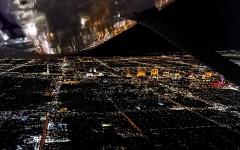 Plane Wing City Lights at Night