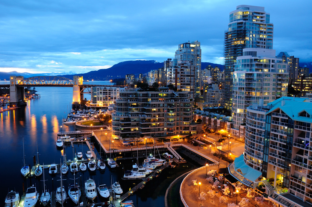 Vancouver BC harbour at night