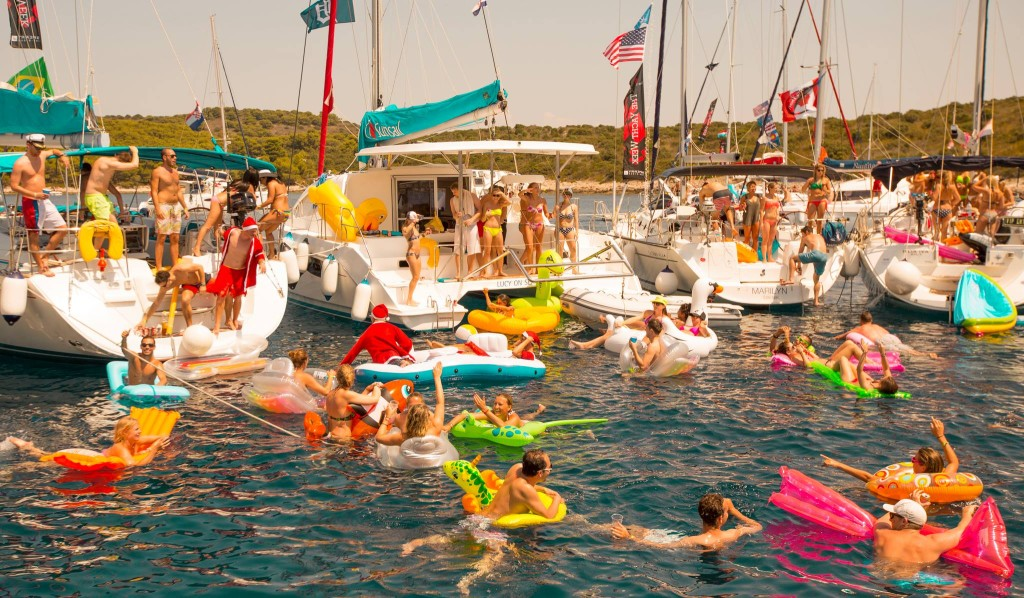 The Yacht Week circle raft party